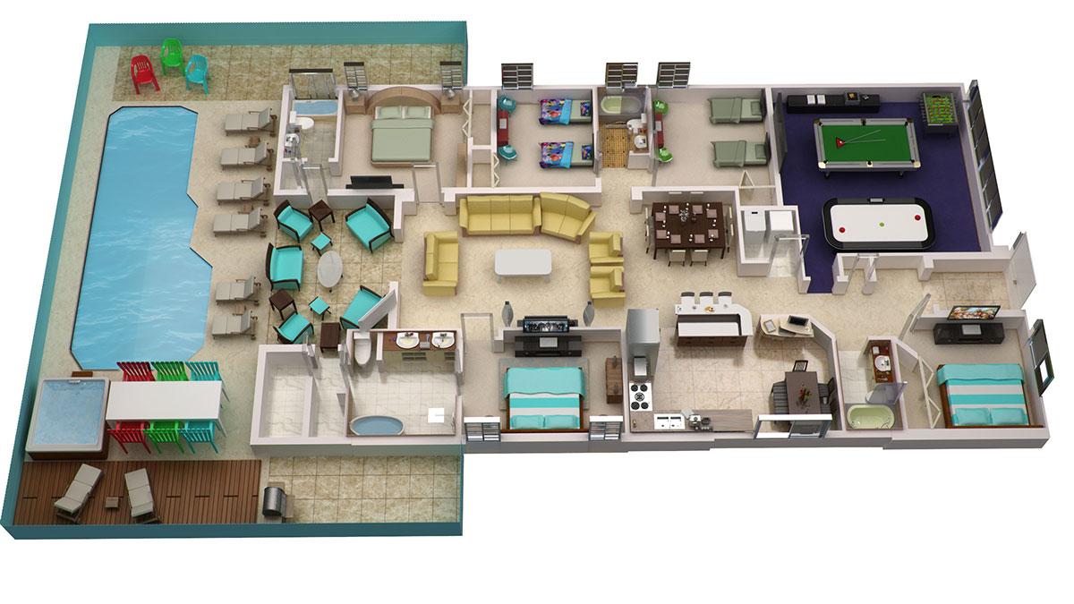 3d Floorplan Orlando Rental Home Orlando Insider Vacations