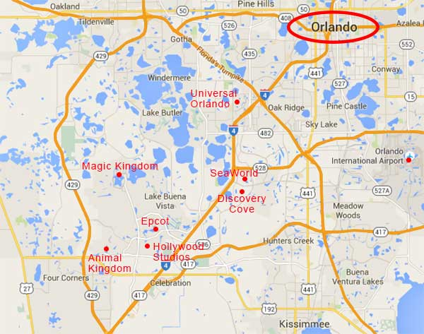 map of Orlando theme parks