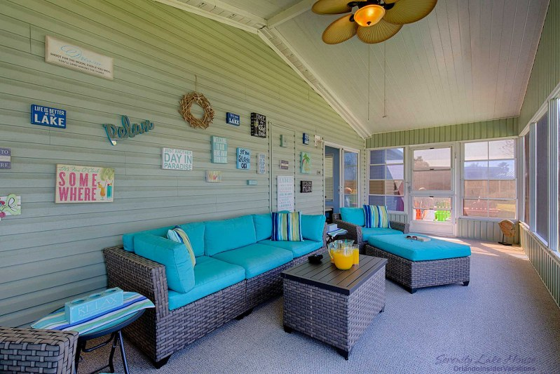 Great Orlando Vacation_rental Private Porch_serenity Lake House Orlando.  Comfortable Rattan Patio Furniture